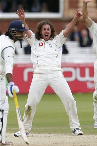 England's Ryan Sidebottom claims the wicket of India's Anil Kumble during the fifth day of the first Test Match at Lord's cricket ground, London on Monday.