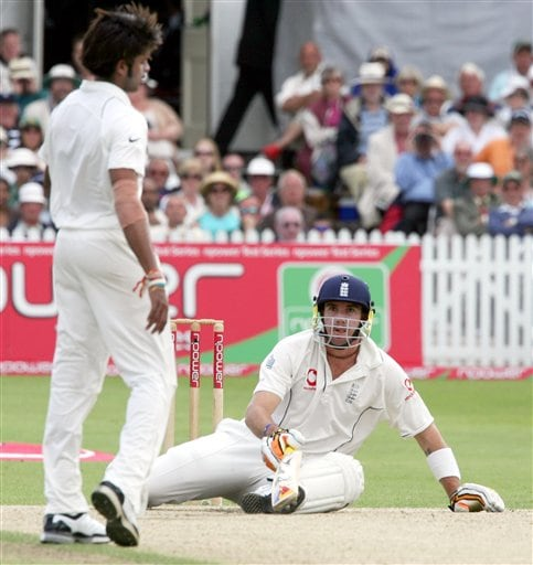 England's Kevin Pietersen, right, ducks under a ball from India's Shanthakumaran Sreesanth, left, during the fourth day of the second Test cricket match at the Trent Bridge ground Nottingham on Monday.