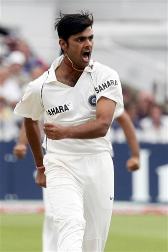 India's RP Singh celebrates after claiming the wicket of England's Kevin Pietersen during the fourth day of the second Test cricket match at the Trent Bridge ground Nottingham on Monday.