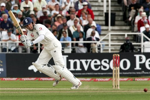 England's Michael Vaughan hits a ball from India's Sachin Tendulkar during the fourth day of the second Test cricket match at the Trent Bridge ground Nottingham on Monday.