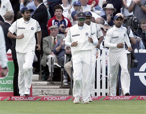 The Indian team take the field during the forth day of the second Test cricket match against England at the Trent Bridge ground Nottingham on Monday.