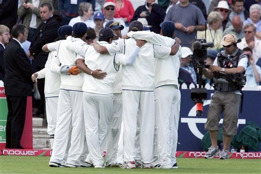 India hold a team talk before the start of the fourth day of the second Test cricket match against England at the Trent Bridge ground Nottingham on Monday.