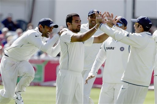 India's Zaheer Khan,2nd left, claims the wicket of England's Alastair Cook during the fourth day of the second Test cricket match at the Trent Bridge ground Nottingham on Monday.