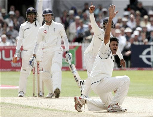 India's Anil Kumble, right, appeals for the wicket of England's Michael Vaughan, 2nd left, during the fourth day of the second Test cricket match at the Trent Bridge ground Nottingham on Monday.