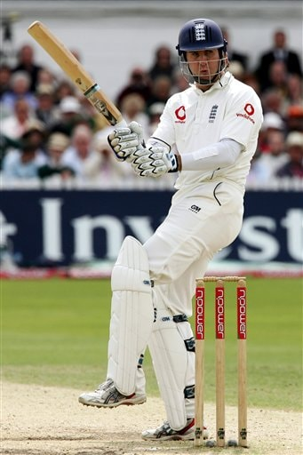 England's Michael Vaughan looks behind after a ball from India's Shanthakumaran Sreesanth during the fourth day of the second Test cricket match at the Trent Bridge ground Nottingham on Monday.
