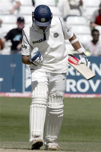 India's Rahul Dravid punches the air after his team beat England in the second Test cricket match at the Trent Bridge ground Nottingham on Tuesday.