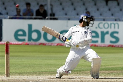 India's Dinesh Karthik avoids a short ball from England's Chris Tremlett during the fifth day of the second Test cricket match at the Trent Bridge ground Nottingham on Tuesday.