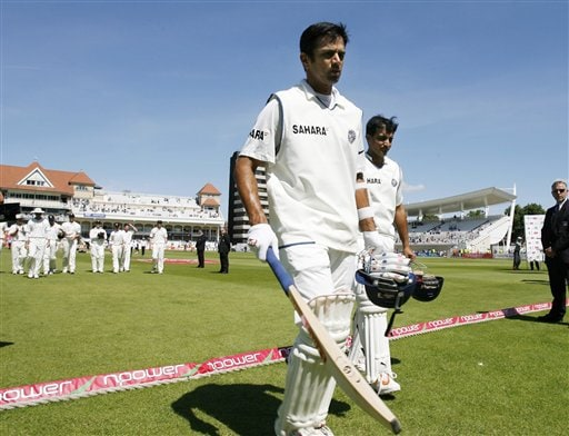 India's Rahul Dravid, left and Sourav Ganguly lead England from the field after winning the second Test cricket match at the Trent Bridge ground Nottingham on Tuesday.