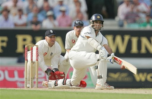 India's Sourav Ganguly sweeps a delivery from England's Monty Panesar, on the first day's play in the third Test Match at the Oval in London on Thursday.