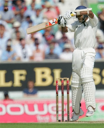 India's Wasim Jaffer hits six runs off the bowling of England's James Anderson during the first days play at the third cricket test at the Oval cricket ground in London on Thursday.