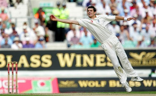 England bowler James Anderson takes the ball mid-air from India's batsman Wasim Jaffer , unseen, on the first days play at the third cricket test at the Oval in London on Thursday.