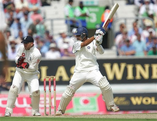 India's Rahul Dravid hits two runs off the bowling of England's Monty Panesar, during the first day's play in the third Test Match at the Oval in London on Thursday.
