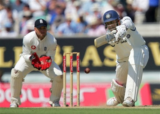 India's Anil Kumble drives England Monty Pansear on the second day of the third cricket test at the Oval cricket ground in London on Friday.
