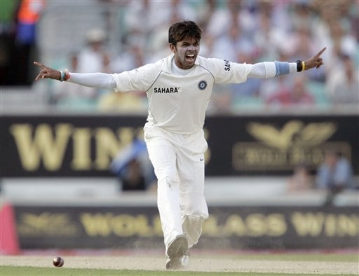 India' S Sreesanth appeals successfully for the wicket of England' Paul Collingwood during the third days play of the third cricket test at the Oval cricket ground in London on Saturday.