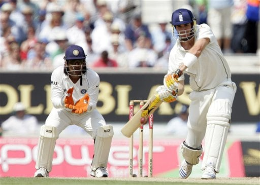 England's Kevin Pietersen plays a shot off the bowling of India's Anil Kumble during the second days play of the third cricket test at the Oval in London on Saturday.