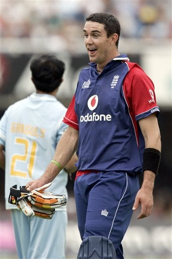 England's Kevin Pietersen pulls a face as he waits for new gloves to be brought out during the final one day international cricket match against India at Lords, London on Saturday.