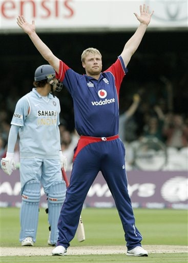 England's Andrew Flintoff celebrates after claiming the wicket of India's Sachin Tendulkar during the final one day international cricket match at Lords, London on Saturday.