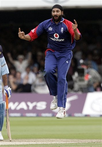 England's Monty Panesar celebrates after claiming the wicket of India's Zaheer Khan during the final one day international cricket match at Lords, London on Saturday.
