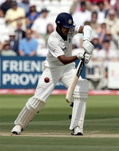 India's RP Singh plays around a ball from England's James Anderson during the third day of the first Test at Lord's cricket ground, in London on Saturday.