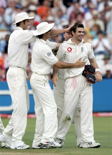 England's Andrew Strauss hits a ball from India's Zaheer Khan during the third day of the first Test at Lord's cricket ground, London on Saturday.