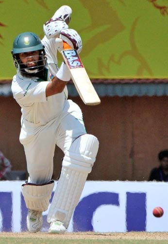 South Africa's Hashim Amla takes a shot during the first Test of the Future Cup series in Chennai on Wednesday, March 26, 2008.