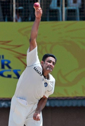 Anil Kumble bowls against South Africa's Graeme Smith during the first Test of the Future Cup cricket series in Chennai on Wednesday, March 26, 2008.