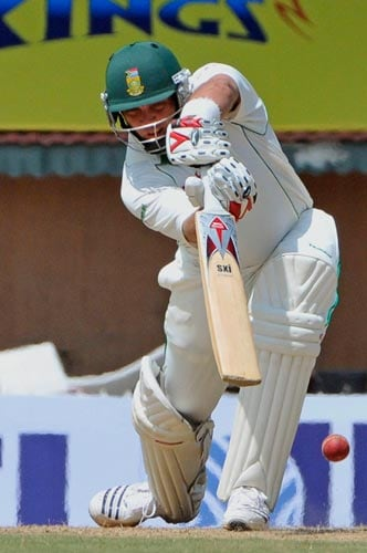 Jacques Kallis takes a shot during the first Test of the Future Cup series in Chennai on Wednesday, March 26, 2008.