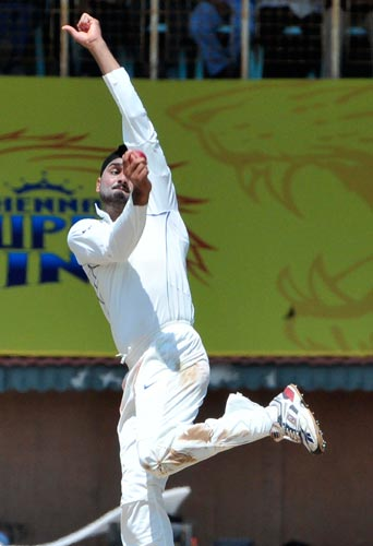 Harbhajan Singh bowls during the first Test of the Future Cup series in Chennai on Wednesday, March 26, 2008.