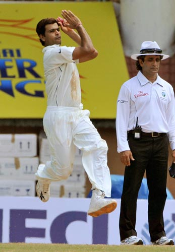 RP Singh leaps in air before a delivery during the first Test of the Future Cup cricket series in Chennai on Wednesday, March 26, 2008.