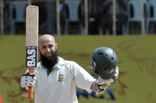 Hashim Amla celebrates his century against India during second day of the first Test match of the Future Cup series in Chennai on Thursday, March 27, 2008.