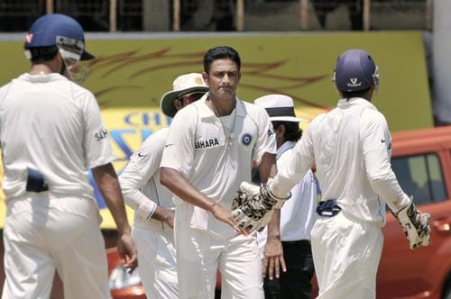 Anil Kumble, centre, celebrates the dismissal of Hashim Amla during the second day of the first Test match of the Future Cup series in Chennai on Thursday, March 27, 2008.