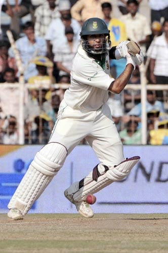 Hashim Amla takes a shot, during fourth day of the first Test match of the Future Cup series in Chennai on March 29, 2008.