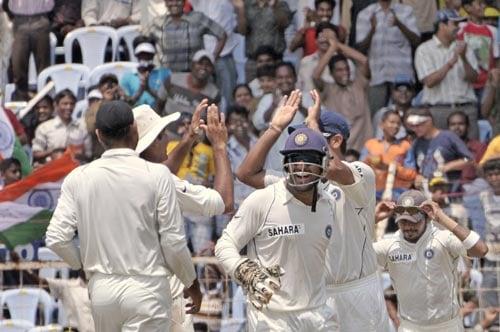 Indian cricketers celebrate the dismissal of south Africa's Jacquis Kallis, unseen, during the fifth day of the first Test of Future Cup cricket series in Chennai on Sunday, March 30, 2008.