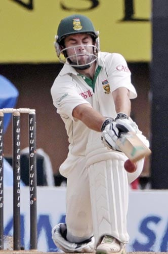 Niel McKenzie reacts as he plays a shot during the fifth day of the first Test of Future Cup series in Chennai on Sunday, March 30, 2008.