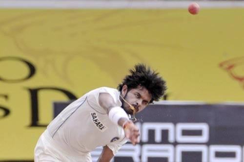 Shantakumaran Sreesanth bowls during the fifth day of the first Test of Future Cup series in Chennai on Sunday, March 30, 2008.