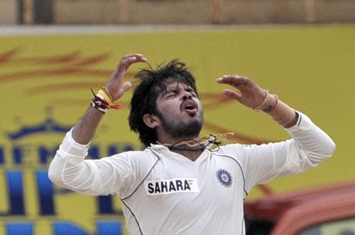 Shantakumaran Sreesanth reacts as his ball missed a wicket during the fifth day of the first Test of Future Cup series in Chennai on Sunday, March 30, 2008.