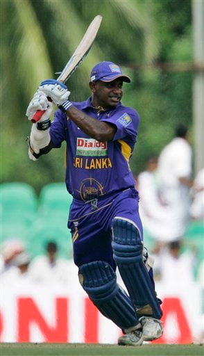 Sanath Jayasuriya plays a shot during the first one-day cricket international of the five match series between India and Sri Lanka in Dambulla on Wednesday, January 28, 2009. (AP Photo)