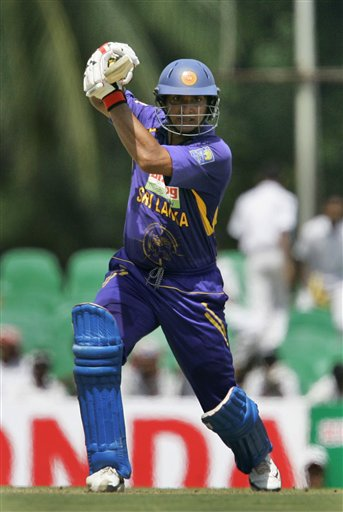 Kumar Sangakkara plays a shot during the first one-day cricket international of the five match series between India and Sri Lanka in Dambulla on Wednesday, January 28, 2009. (AP Photo)