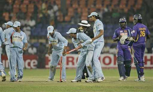 India celebrate the victory over Sri Lanka by 147 runs in the third ODI match of the five match series in Colombo on Tuesday. (AP Photo)