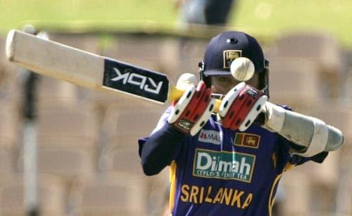 Captain Mahela Jayawardene leads the fightback, along with Kumar Sangakkara. Here he hooks one away during his innings of 71.