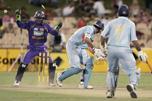 Just when Yuvraj Singh looked like taking India home, Chaminda Vaas beat him with a yorker. Yuvraj scored 76 from 70 balls.