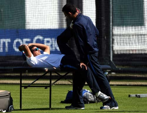 Suresh Raina is treated during a net practice at Lord's cricket ground, London. (AP Photo)