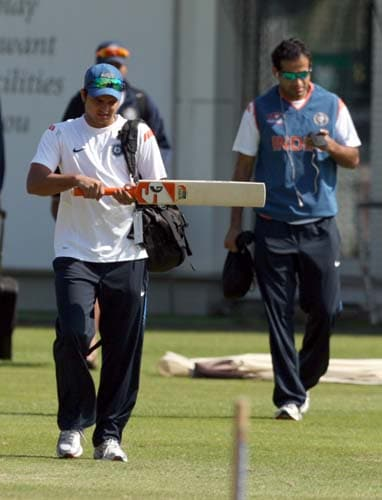 Suresh Raina plays a practice shot during a net practice at Lord's cricket ground, London. (AP Photo)