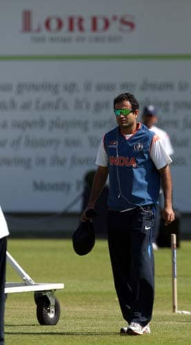 Irfan Pathan arrives for a net practice at Lord's cricket ground, London. (AP Photo)