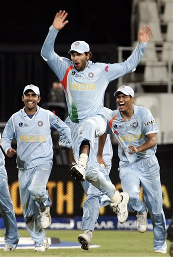 India's cricket player Yuvraj Singh, center along with his teammates celebrate his victory over Pakistan during their Twenty20 World Championship.