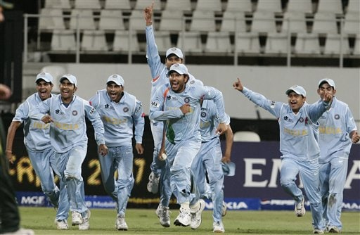 Indian cricket players celebrate their victory over Pakistan during their Twenty20 World Championship.