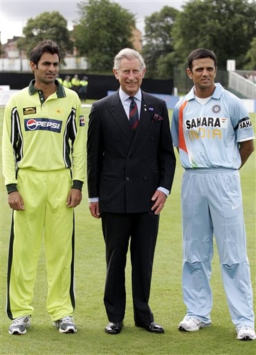 Britain's Prince Charles, The Prince of Wales, center, meets Pakistan's Captain Shoaib Malik, left, and India's Captain Rahul Sharad Dravid, right, ahead of their Future Friendship Cup One day international cricket match at Citylets Titwood cricket ground,Glasgow, Scotland, Tuesday, July 3, 2007.