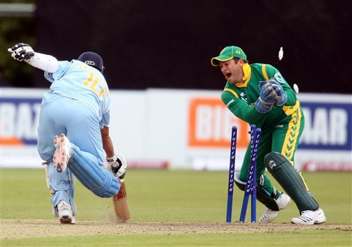 Sachin Tendulkar is run out on 99 runs by South Africa wicketkeeper Mark Boucher during the One Day International series match at Stormont, Belfast, Northern Ireland, Tuesday June, 26 2007.