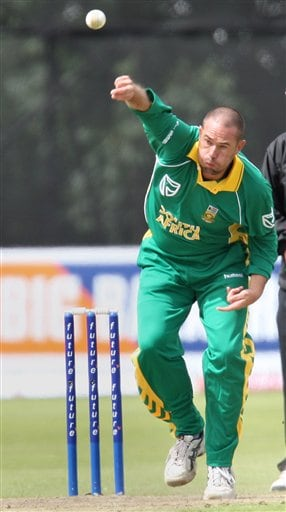South Africa's Andrew Hall in action bowling during the One Day International series cricket match against India at Stormont, Belfast, Northern Ireland, Tuesday, June 26, 2007.