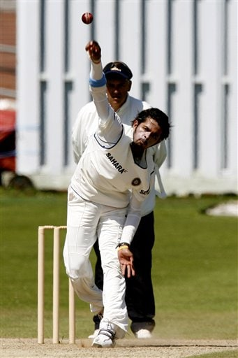 Shanthakumaran Sreesanth bowls a ball during their cricket match against Sussex, Hove, Britain, Sunday July 8, 2007. India will face England in the first test at Lords Thursday July 19, 2007.